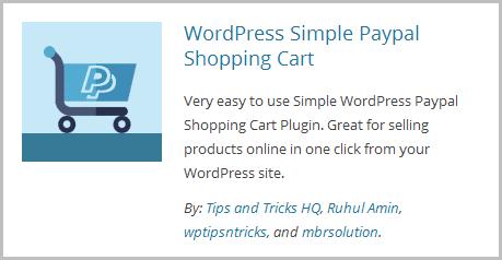 WordPress Simple PayPal Shopping Cart Plugin